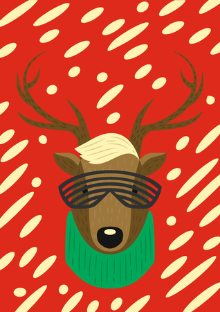 Christmas modern style hipster deer. Reindeer with glasses and a scarf. Set Modern Xmas. Foto de archivo - 127678858