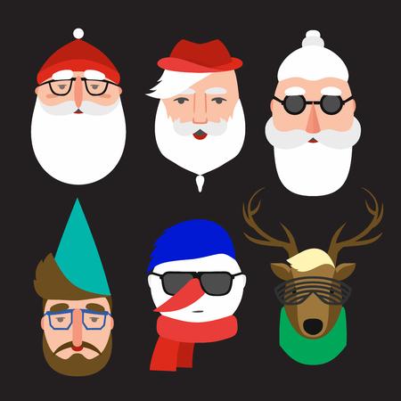Set of christmas characters. Three variants of Santa Claus, snowman, gnome and deer. Set Modern Xmas. Foto de archivo - 127678859