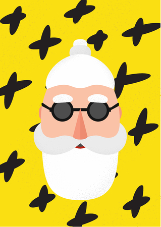 Bearded hipster modern style Santa Claus with a mustache. Merry Christmas background. Trendy abstract geometric elements for cards. Trendy creative fashion poster. Set Modern Xmas. Foto de archivo - 127678860