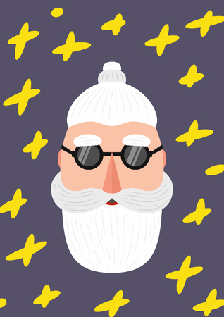 Bearded hipster modern style Santa Claus with a mustache. Merry Christmas background. Trendy abstract geometric elements for cards. Trendy creative fashion poster. Set Modern Xmas. Foto de archivo - 127678861