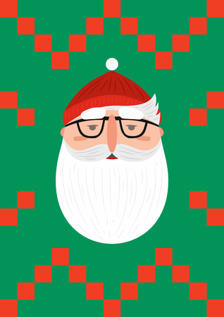 Bearded hipster Santa Claus. Set Modern Xmas. Foto de archivo - 127678864