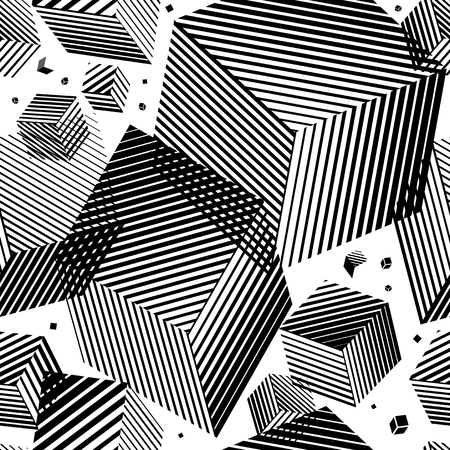 Square pattern. Square geometric background. Strip line squares. Cube. Abstract lines. Foto de archivo - 127636976