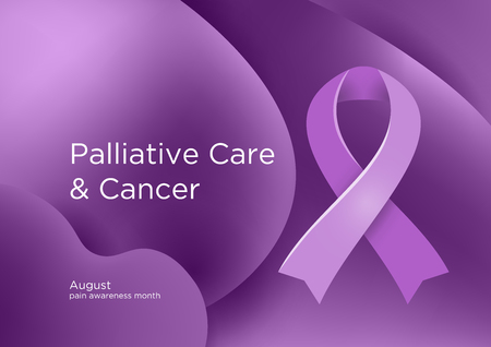 Palliative Care and Cancer pain awareness month in August. Lavender or violet or purple color ribbon Cancer Awareness Products. Vector illustration.