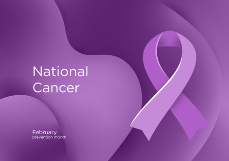National Cancer Prevention Month in USA America. Lavender color ribbon Cancer Awareness Products. February. A sign of support for those living with all types of cancer. Vector illustration. Foto de archivo - 126343878