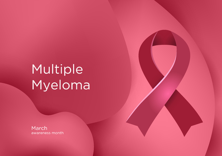 Multiple Myeloma MM awareness month in March. It is a cancer that forms in a type of white blood cell called a plasma cell. Burgundy color ribbon Cancer Awareness Products. Vector illustration.
