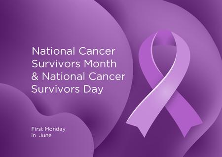 National Cancer Survivors Month and National Cancer Survivors Day in the first Sunday in June. Lavender or violet color ribbon Cancer Awareness Products. Vector illustration.