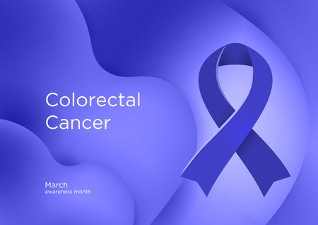 Colorectal Cancer CRC awareness month in March. Also known as bowel cancer and colon cancer. Blue color ribbon Cancer Awareness Products. Vector illustration. Foto de archivo - 126343890