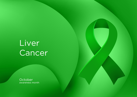 Liver Cancer awareness month in October. Hepatic and primary hepatic cancer, is cancer that starts in the liver. Emerald Green color ribbon Cancer Awareness Products. Vector illustration. Foto de archivo - 126343891