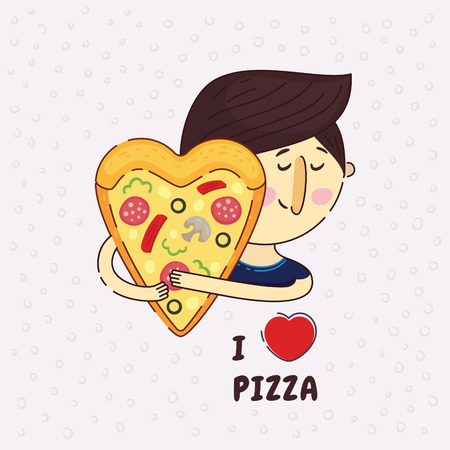 Heart shaped pizza vector illustration. A man passionately lovingly embraces pizza. Phrase I love pizza. Love to pizza. Icon logo design element. True love.Pizza lover.