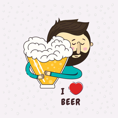 Beer in the shape of a heart. A man passionately lovingly embraces beer. Phrase I love beer. Love to beer. Icon logo design element. True love. Beer lover.