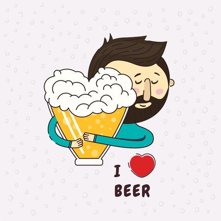 Bier in de vorm van een hart. Een man omarmt hartstochtelijk liefdevol bier. Zin ik hou van bier. Ben dol op bier. Pictogram logo ontwerpelement. Ware liefde. Bier liefhebber.