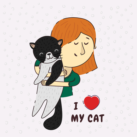 Love for cats. Girl holding enchanted cat hugs. Phrase I love my cat. True devotion to the cat. Cat lover. Cute black and white cat smiling. Love for pets. Protectors of animals. Ilustração