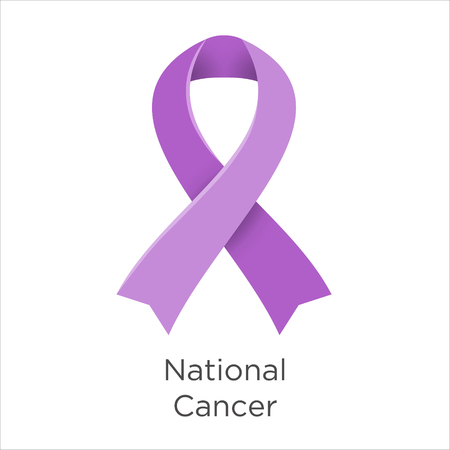 National Cancer Prevention Month in USA America. Lavender color ribbon Cancer Awareness Products. February. A sign of support for those living with all types of cancer. Vector illustration. Illustration