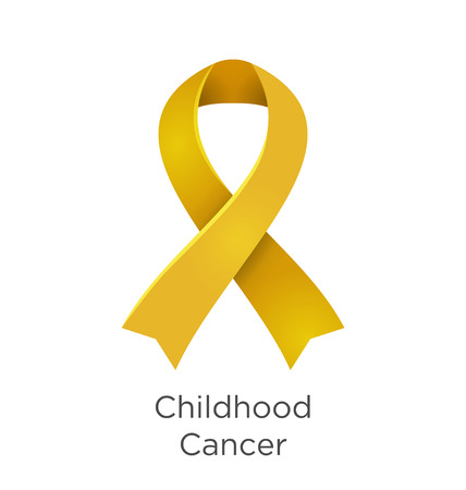 Childhood Cancer awareness month in September. Gold color ribbon Cancer Awareness Products. Vector illustration.