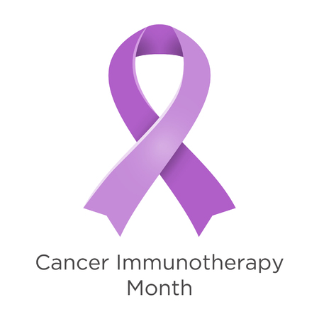 Cancer Immunotherapy Month in June. Palliative care. Lavender or violet color ribbon Cancer Awareness Products. Vector illustration.