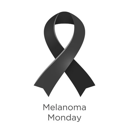 Melanoma Monday in the first Monday in May. Black color ribbon Cancer Awareness Products. Vector illustration.