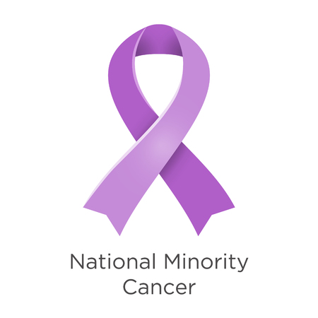 National Minority Cancer awareness week - second week in April. Lavender or violet color ribbon Cancer Awareness Products. Vector illustration. Foto de archivo - 122107089