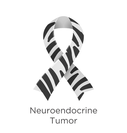 Neuroendocrine Tumor awareness day in November 10. Neuroendocrine carcinoma. Zebra Stripe ribbon Cancer Awareness Products. Vector illustration. Foto de archivo - 123863658