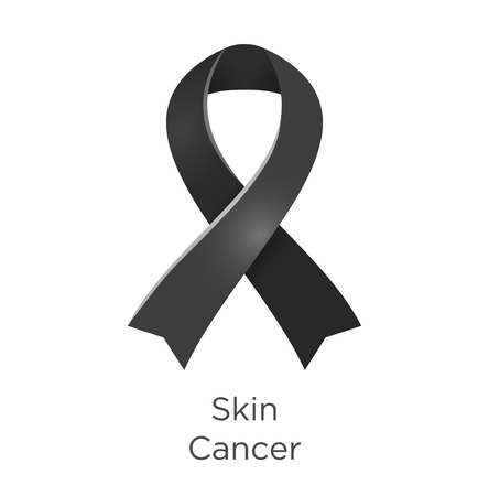 Skin Cancer awareness month in May. Black color ribbon Cancer Awareness Products. Vector illustration.