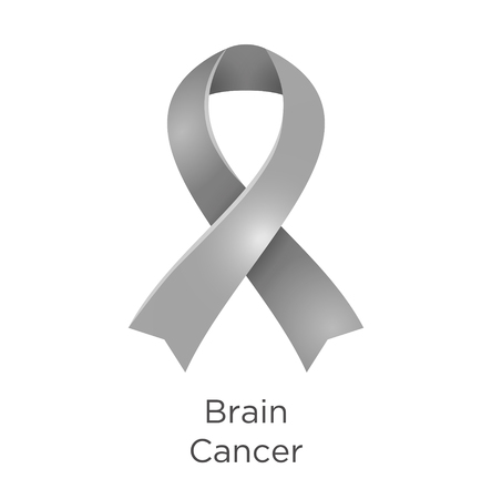 Brain Cancer awareness month in May. Brain tumor. Grey color ribbon Cancer Awareness Products. Vector illustration.