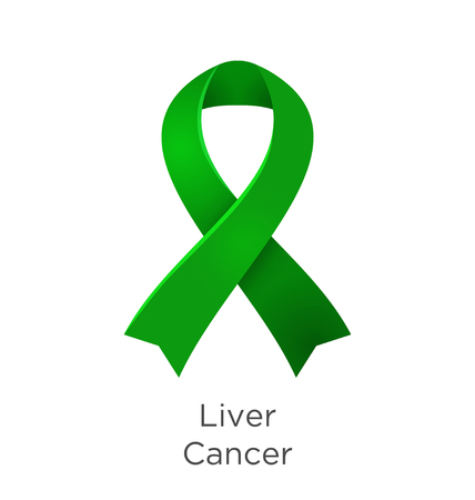 Liver Cancer awareness month in October. Hepatic and primary hepatic cancer, is cancer that starts in the liver. Emerald Green color ribbon Cancer Awareness Products. Vector illustration.