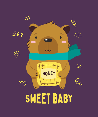 Cute brown little bear smiling. Text Sweet baby. Animal kingdom set. Super-kawaii and adorable animals. Cartoon character and lettering. Flat illustration for kid's poster, t-shirt and other art. Foto de archivo - 123425446