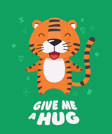 Cute red striped little tiger smiling. Text Give me a hug. Animal kingdom set. Super-kawaii and adorable animals. Cartoon character and lettering. Flat illustration for kid's poster, t-shirt other art Foto de archivo - 123425448