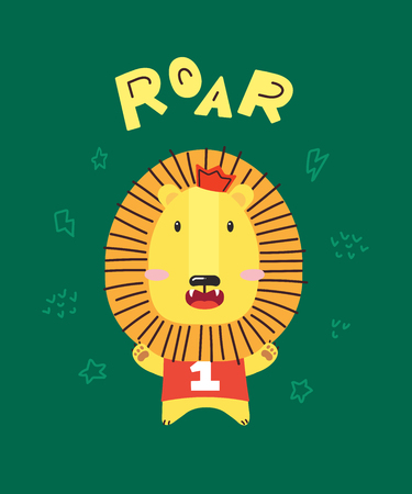 Cute little lion smiling. Crown and number one. ROAR. Animal kingdom set. Super-kawaii and adorable animals. Cartoon character and lettering. Flat illustration for kid's poster, t-shirt and other art. Foto de archivo - 123425451
