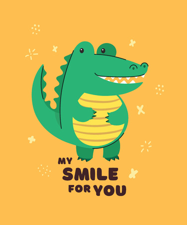 Cute crocodile smiling. Text My smile for you. Animal kingdom set. Super-kawaii and adorable animals. Cartoon character and lettering. Flat illustration for kid's poster, t-shirt and other art. Foto de archivo - 123425454