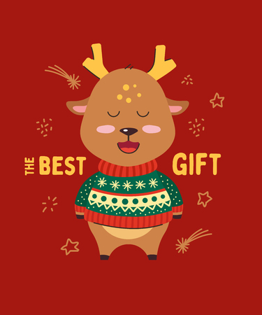 Cute little deer smiling. Happy New Year. The best gift. Animal kingdom set. Super-kawaii and adorable animals. Cartoon character and lettering. Flat illustration for kid's poster, t-shirt, other art. Foto de archivo - 123425456