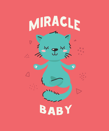 Cute fluffy littlecat meditating. Text Miracle baby. Animal kingdom set. Super-kawaii and adorable animals. Cartoon character and lettering. Flat illustration for kid's poster, t-shirt and other art. Vektorové ilustrace