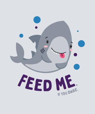 Lindo pequeño tiburón divertido sonriendo y hambriento. Aliméntame, si te atreves. Conjunto de reino animal. Super-kawaii y adorable. Personaje de dibujos animados y letras. Ilustración plana para póster infantil, camiseta, otro arte.
