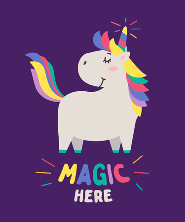 Cute cool little unicorn with colorful mane, tail and horn smiling. Text Magic here. Animal kingdom set. Cartoon character and lettering. Flat illustration for kid's poster, t-shirt and other art.