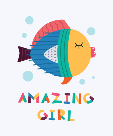 Cute beautiful cool fish. Text Amazing girl. Animal kingdom set. Super-kawaii and adorable animals. Cartoon character and lettering. Flat illustration for kid's poster, t-shirt and other art.