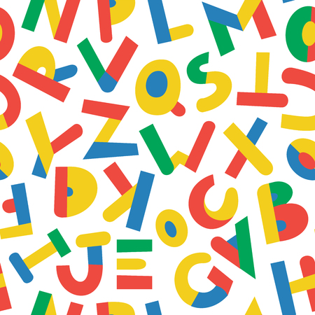 Seamless pattern with color letters. Kid alphabet. Can be used on packaging paper, fabric, background for different images, etc. White background.