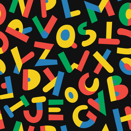 Seamless pattern with color letters. Kid alphabet. Can be used on packaging paper, fabric, background for different images, etc. Black background. Foto de archivo - 123291245