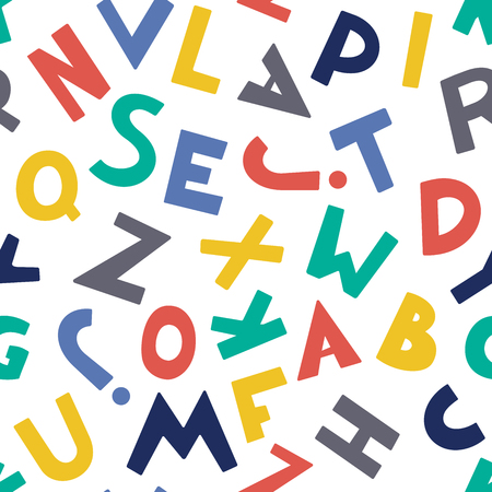 Seamless pattern with color letters. Kid alphabet. Can be used on packaging paper, fabric, background for different images, etc. White background. Foto de archivo - 123291246