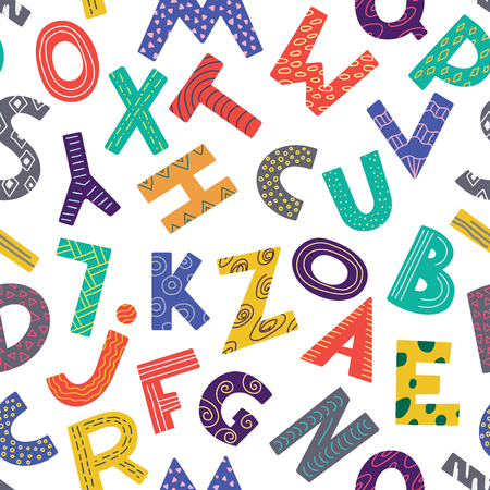 Seamless pattern with color letters. Kid alphabet. Can be used on packaging paper, fabric, background for different images, etc. White background. Foto de archivo - 122107214