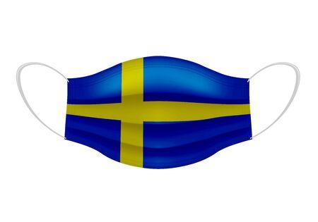 Coronavirus in Sweden. Graphic of surgical mask with swedish flag. Novel coronavirus (2019-nCoV or CoVid-19). Medical face mask as concept of coronavirus quarantine. Coronavirus outbreak.