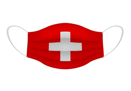 Coronavirus in Switzerland. Graphic of surgical mask with swiss flag. Novel coronavirus (2019-nCoV or CoVid-19). Medical face mask as concept of coronavirus quarantine. Coronavirus outbreak. Ilustracja