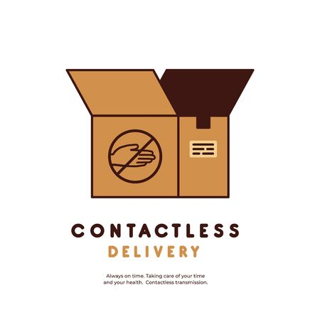 Contactless delivery concept. Safe and fast delivery. Hands free delivery. Logo for company. A sign with a crossed-out hand. Stopping the virus from spreading. Covid-19.