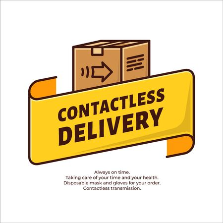 Contactless delivery concept. Safe and fast delivery. Disinfection of the product. Contactless shopping. Novel coronavirus 2019-nCoV or CoVid-19. Stop virus.
