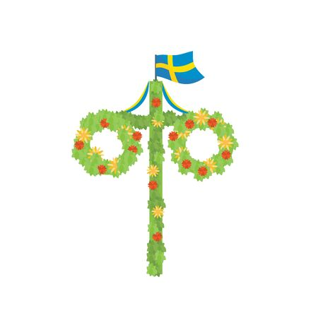 Midsummer floral wreaths, Swedish flag, maypole decorated, covered in flowers, leaves. Midsummer traditional Swedish symbol. Card (Kort) Glad Midsommar. White background. Happy family summer holiday