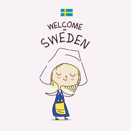 Welcome to Sweden. Postcard with a cute swedish girl in national costume. Swedish hospitality. Sweden flag.