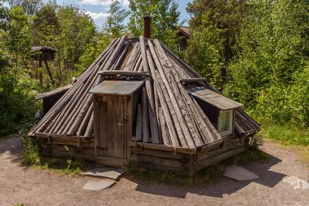 Turf shelter (Torvkata) made with turf, birchbark in Skansen, Stockholm, Sweden. Old traditional house in Scandinavia. The house is made of natural materials on the ground.