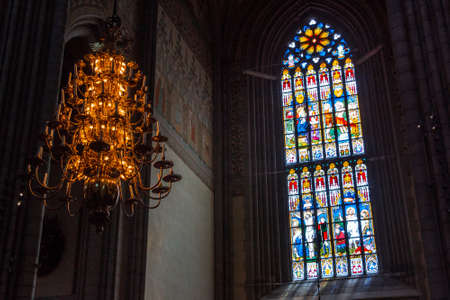 Uppsala, Sweden - 16 June 2019: Interior of Uppsala Cathedral. Uppsala Domkyrka. The greatest and beautiful church in Scandinavia, Sweden. The interior of the Catholic Church in the Gothic style. Editorial