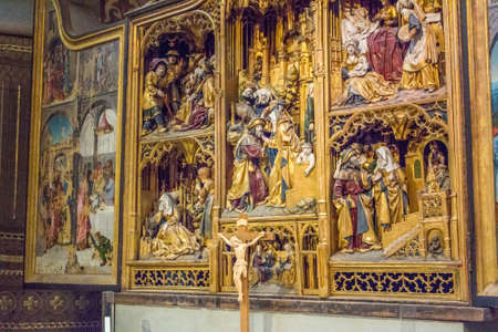 Uppsala, Sweden - 16 June 2019: Interior of Uppsala Cathedral. The interior of the Catholic Church in the Gothic style. Three-dimensional panels in the Church. Editorial
