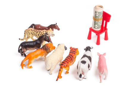 Toy plastic figurines of animals on white isolated background. Crowd of animals in front of a bundle of money. The concept of the desire to make money. People love money more than anything.