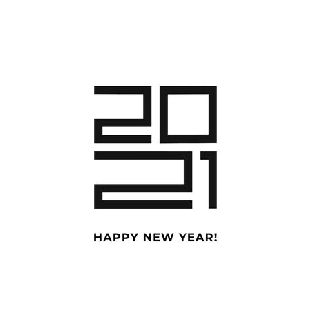 Happy New Year 2020 logo text design. Vector modern minimalistic text with black numbers. Isolated on white background. Concept design.