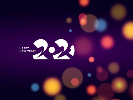 Happy New Year 2021 logo text design. Vector modern minimalistic text with numbers. Concept design. Bright Christmas background with blur, boken, light, glare effects, stars, snowflakes, snow.